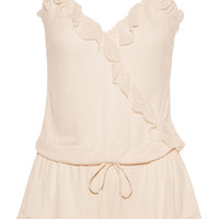 Bonnie ruffled lace-trimmed jersey playsuit | Eberjey | UK | THE OUTNET