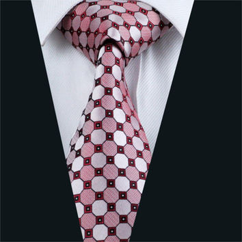Mens Silk Tie Red Geometric Neck Tie 100% Silk Jacquard Ties For Men Business Wedding Party