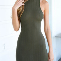 Army Green Sleeveless Halter Neckline Open Back Bodycon Dress