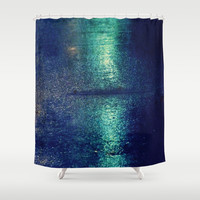 Blue Abstract Shower Curtain by Yoshigirl