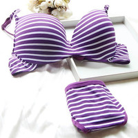 Sexy Women Girl Striped Push Up Padded Underwear 2 pcs Set Underwire Bra lingerie Hot bra set