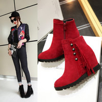 On Sale Hot Deal Wedge Height Increase Tassels Plus Size Boots [6366198596]