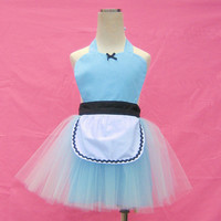 apron ALICE in Wonderland  TUTU apron for girls fun for special occasion or birthday party dress up costume