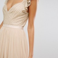 Needle & Thread Swan Tulle Maxi Dress With Frill Sleeve at asos.com