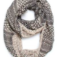 With Love From CA Tribal Mixed Media Infinity Scarf - Womens Scarves - Multi - One