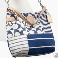 COACH DAISY PATCHWORK CONVERTIBLE HOBO SHOULDER BAG CROSSBODY NAVY F23963