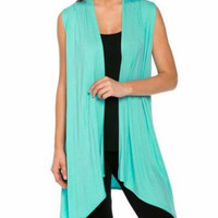 Plain Sleeveless Knitted Cardigan