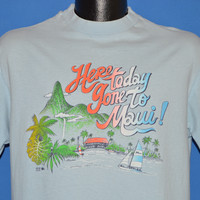 80s Hawaii Here Today gone To Maui Rainbow t-shirt Large