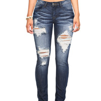 Downtown Distressed Skinny Jeans