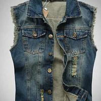 2015 Men's Slim Denim Vest Male Jean Vest Men Jacket Collar Waistcoat