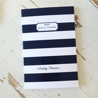 2016/2017 Weekly Planner- BW Stripe Personalized