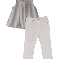 7 For All Mankind Gray Stripe Tuxedo Pleated Tunic & White Jeans - Infant | zulily