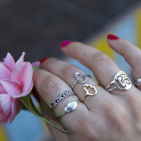 Sterling Silver Rings For Good luck, Protection, Gratitude, Peace, and Harmony