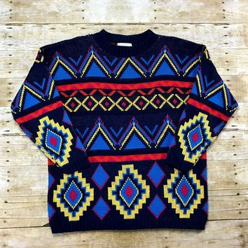 Vintage 80s Navy Blue Southwestern Print Acrylic Sweater Made in USA Mens Size Medium