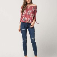GYPSIES & MOONDUST Floral Off The Shoulder Womens Top | Blouses
