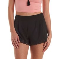 Black Laser-Cut Scalloped Hihg-Waisted Shorts by Charlotte Russe
