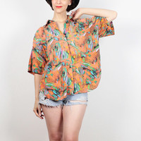 Vintage 80s Shirt Orange Abstract Print Saved By the Bell Blouse Oversized Boxy Boyfriend Shirt 1980s Shirt New Wave Top XL Extra Large XXL