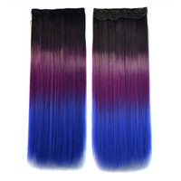 5 Cards Hair Extension 3 Colors Gradient Ramp Wig black dark purple sapphire blue