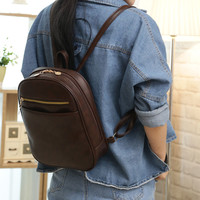 Vintage PU Leather Backpack School Bag Small Shoulder Bags Luxury Casual Stylish For Women Girl HB88