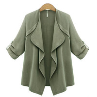 Army Green Trench Coat with Waterfall Drape