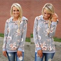 Floral  Hoody with Pockets