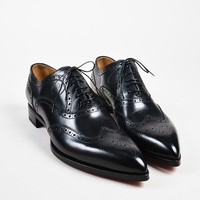 DCCK2 Men  s Christian Louboutin Black Longwing Brogue New Platers Shoes