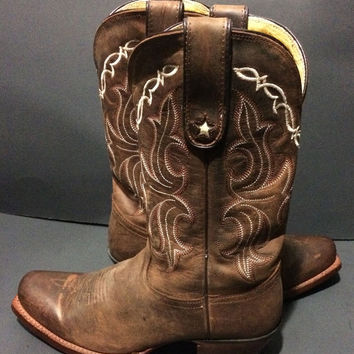 Tony Lama VF6007 Sorrel Tucson Vaquero Brown Leather Western Cowboy Cowgirl Boots Women's Size 7