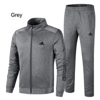 ADIDAS 2018 new men's casual loose running sportswear two-piece Grey