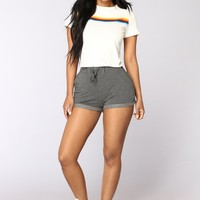 Kassidy Roll Up Shorts - Charcoal