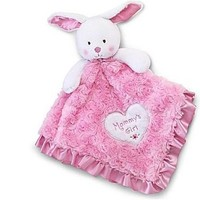 """Baby's Plush Security Blanket Bunny """"Mommy's Girl"""" Lovey Pink & White"""