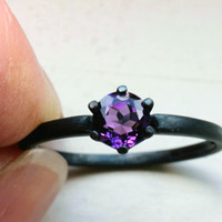 6mm Round Cut Amethyst Solitaire Ring on Oxidized Sterling Custom Made in Your Size
