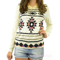 Cali Christmas Ivory Aztec Tribal Sweater