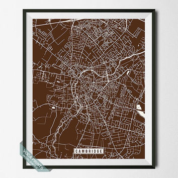 Cambridge Print, England Map, Cambridge Poster, England Print, England Poster, Cambridge Map, Street Map, Map Print, Wall Art