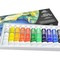Acrylic Colors Set of 12 Paint Tubes  for Artists and Student