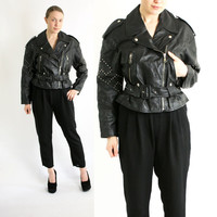 Vintage 80's 90's Black Real Leather Studded Biker Motorcycle Cropped Jacket with Belt - Medium to Large