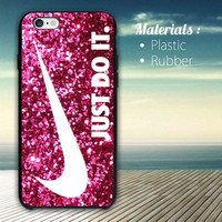 logo nike just do it pink sparkle iPhone 4/4S, 5/5S, 5C,6,6plus,and Samsung s3,s4,s5,s6
