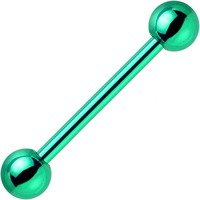 Green Electro Titanium Barbell Tongue Ring