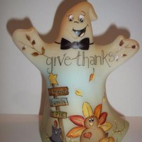"Fenton Glass ""Give Thanks"" Halloween Ghost Figurine Turkey Cat #1/21 Kim Barley"