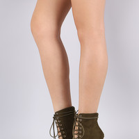 Liliana Suede Cutout Lace-Up Stiletto Booties