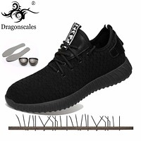 Dragonscales Construction Men's Outdoor Plus Size Steel Toe Work Boots Shoes Men Steel plate bottom Puncture Proof Safety Shoes