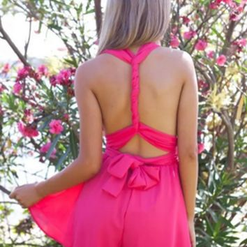 Pink Cross/ Twisted Back Tied Back Romper