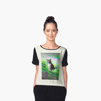 'Trippy Kitty' Women's Chiffon Top by ChessJess