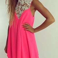 Floral Lace-Paneled Mini Dress in Pink