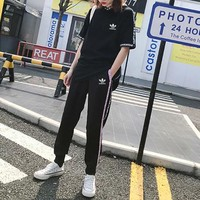 """""""Adidas"""" Unisex Casual Fashion Letter Webbing Short Sleeve Hooded Trousers Couple Set Two-Piece Sportswear"""