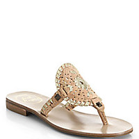 Jack Rogers - Georgica Cork & Metallic Leather Thong Sandals - Saks Fifth Avenue Mobile