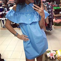 Fashion Women Turn-Down Collar Dresses Summer Beach Casual Butterfly Sleeve Straight