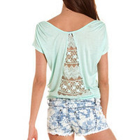 Lace-Back Tie-Front Tee: Charlotte Russe