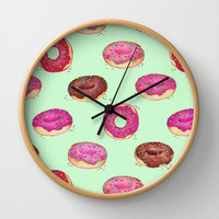 Delicious Donuts - on pale mint green Wall Clock by Perrin Le Feuvre