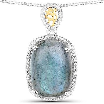 A Natural 11CT Cushion Cut Labradorite & Ethically Mined White Diamond Pendant Necklace