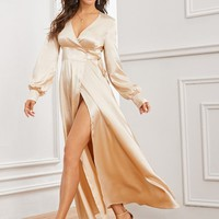 Solid Split Thigh Wrap Knotted Satin Dress
